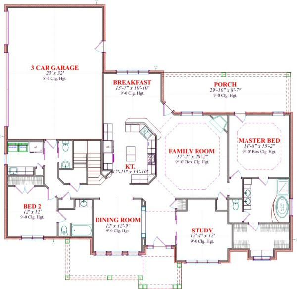 Architectural House Design - European Floor Plan - Main Floor Plan #63-167