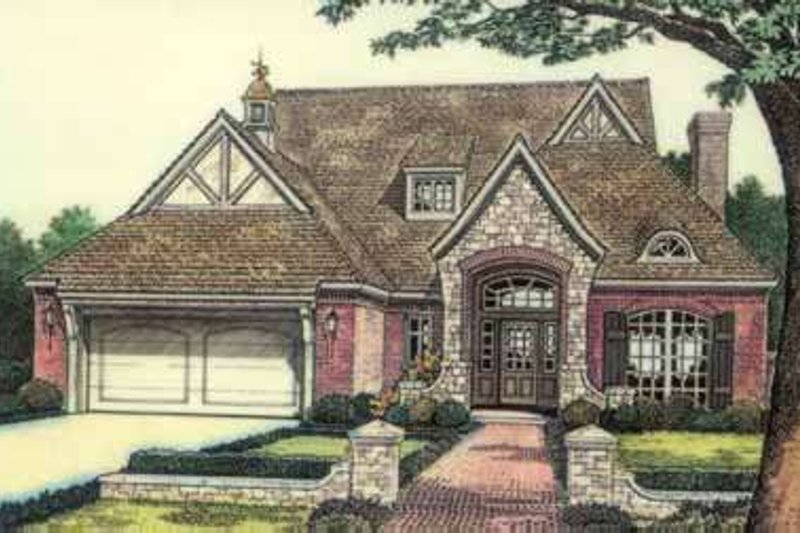 Tudor Style House Plan - 3 Beds 2.5 Baths 2540 Sq/Ft Plan #310-491 Exterior - Front Elevation