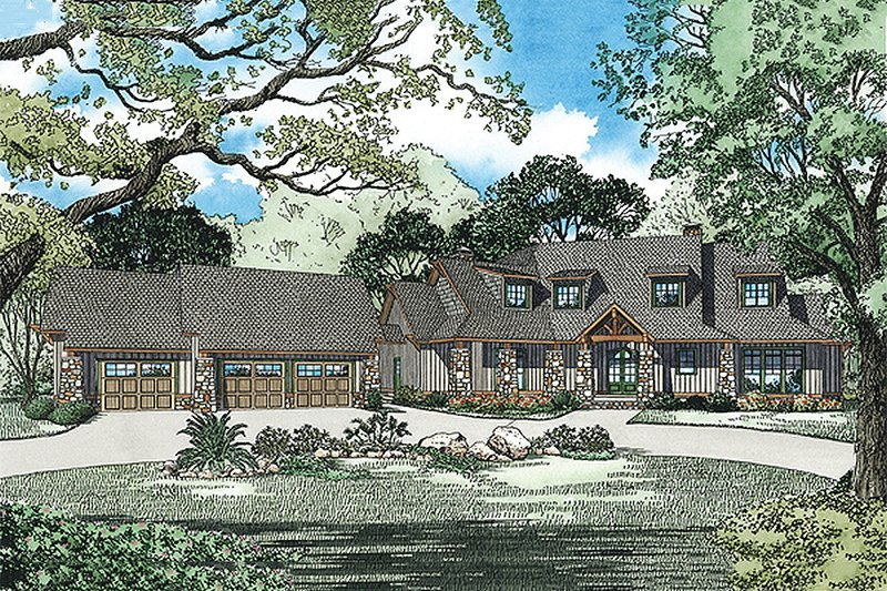 Craftsman Exterior - Front Elevation Plan #17-2444