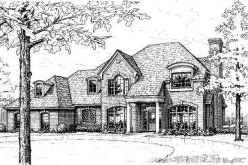 European Style House Plan - 4 Beds 3.5 Baths 2508 Sq/Ft Plan #310-147 Exterior - Front Elevation