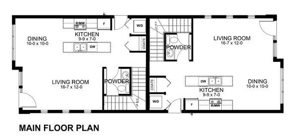 Main Level Floor plan - Modern Duplex