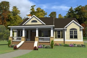 Southern Exterior - Front Elevation Plan #63-405