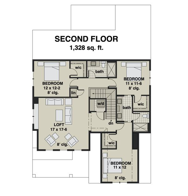 Dream House Plan - Farmhouse Floor Plan - Upper Floor Plan #51-1165
