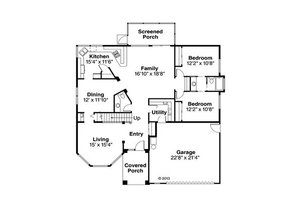 Mediterranean Floor Plan - Main Floor Plan Plan #124-235