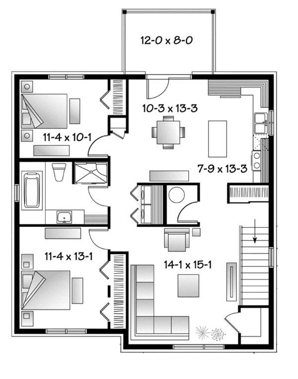 Home Plan - Contemporary Floor Plan - Upper Floor Plan #23-2595