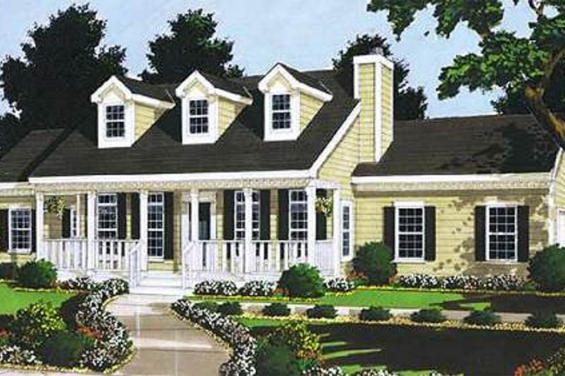 Traditional Style House Plan - 3 Beds 2 Baths 1331 Sq/Ft Plan #3-111 Exterior - Front Elevation
