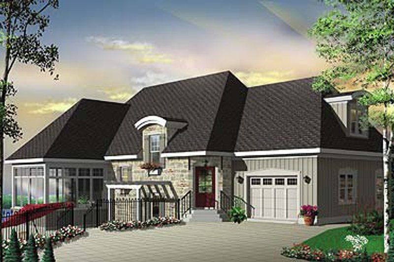 Cottage Exterior - Front Elevation Plan #23-675