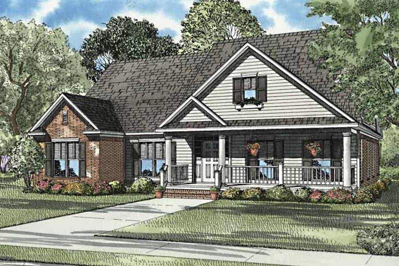 Country Exterior - Front Elevation Plan #17-3242