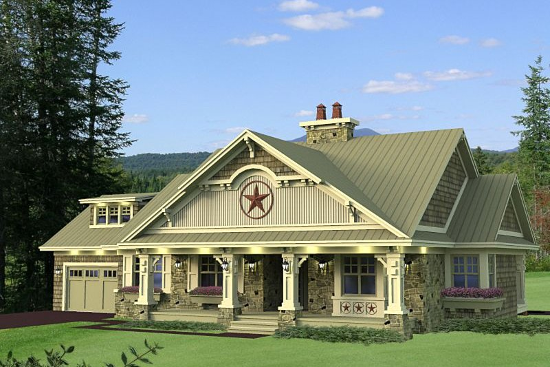 Craftsman Style House Plan - 3 Beds 2.5 Baths 1999 Sq/Ft Plan #51-550 Exterior - Front Elevation