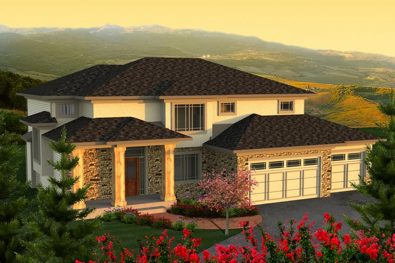 Prairie Exterior - Front Elevation Plan #70-1178