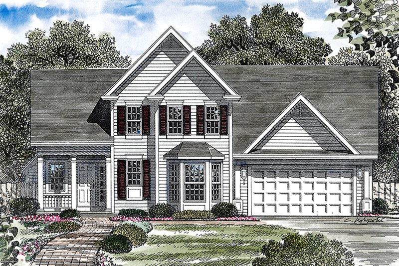 Architectural House Design - Traditional Exterior - Front Elevation Plan #316-292