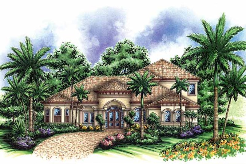 Home Plan - Mediterranean Exterior - Front Elevation Plan #1017-38