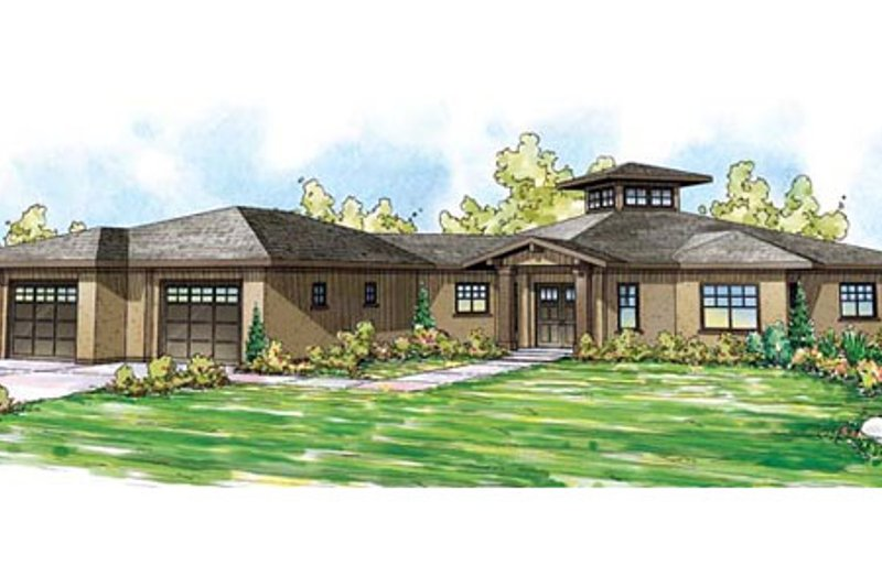 Ranch Style House Plan - 3 Beds 3.5 Baths 3248 Sq/Ft Plan #124-864 Exterior - Front Elevation