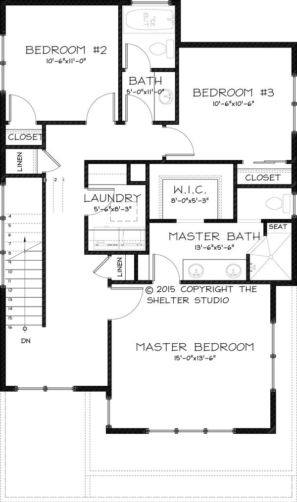 Craftsman Floor Plan - Upper Floor Plan Plan #895-48