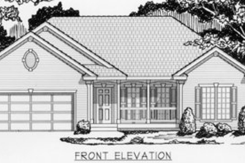 Traditional Style House Plan - 3 Beds 2 Baths 1368 Sq/Ft Plan #112-109 Exterior - Front Elevation