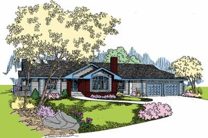 Ranch Exterior - Front Elevation Plan #60-1000