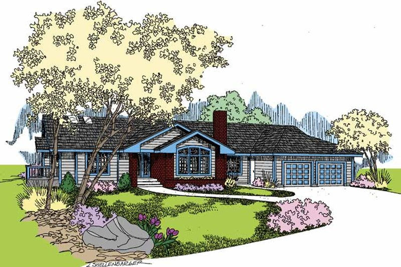 Ranch Exterior - Front Elevation Plan #60-1000 - Houseplans.com