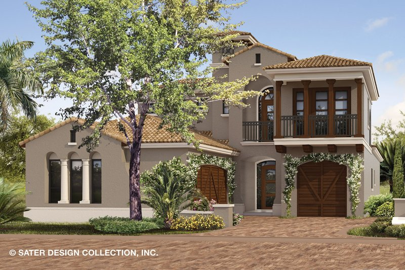 Mediterranean Style House Plan - 4 Beds 4.5 Baths 3882 Sq/Ft Plan #930-489 Exterior - Front Elevation