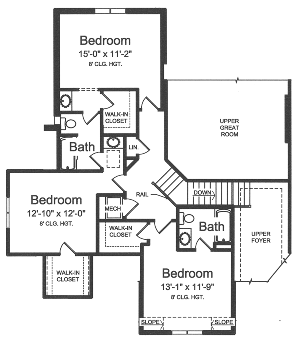 Country Floor Plan - Upper Floor Plan Plan #46-856