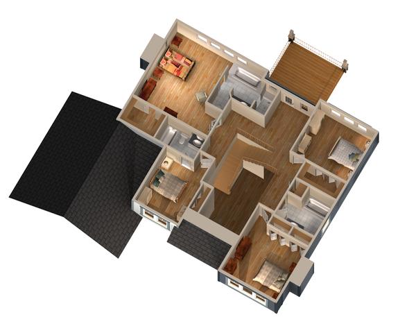 Traditional Floor Plan - Upper Floor Plan Plan #25-4629