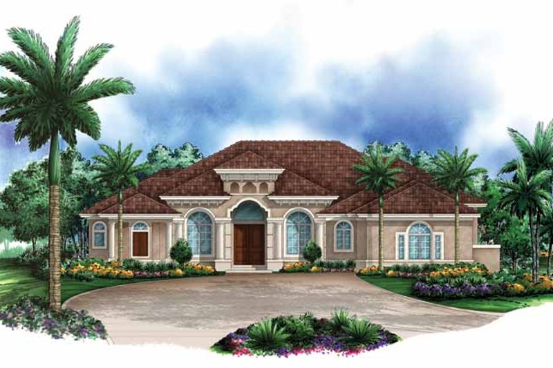 Mediterranean Exterior - Front Elevation Plan #1017-123