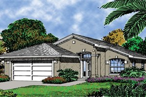 House Plan Design - Mediterranean Exterior - Front Elevation Plan #417-675