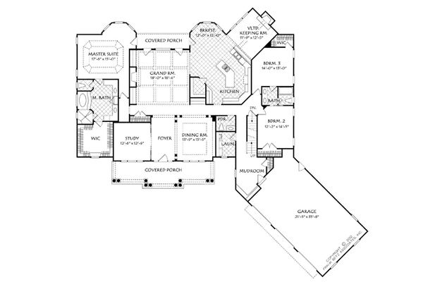 Traditional Floor Plan - Main Floor Plan Plan #927-958