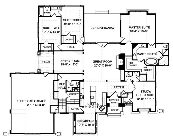 Craftsman Floor Plan - Main Floor Plan Plan #413-130