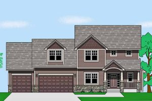 Prairie Exterior - Front Elevation Plan #981-18
