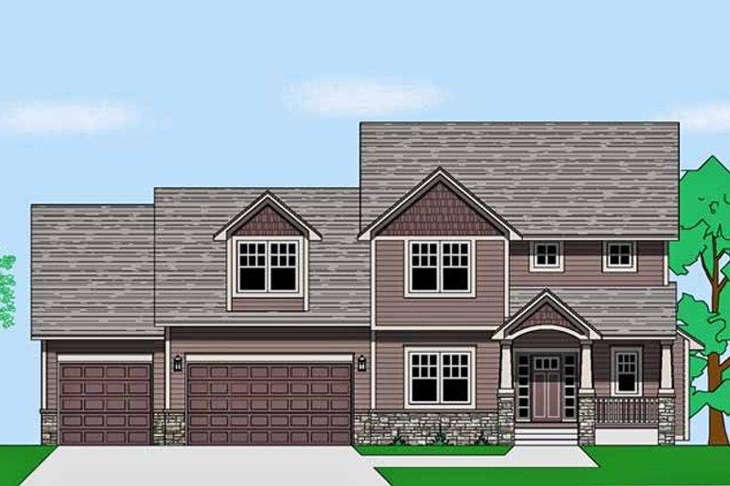 Prairie Exterior - Front Elevation Plan #981-18