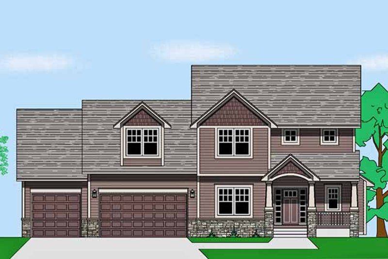Prairie Exterior - Front Elevation Plan #981-18 - Houseplans.com