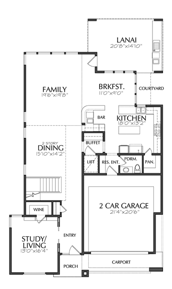 Contemporary Floor Plan - Main Floor Plan Plan #1021-17