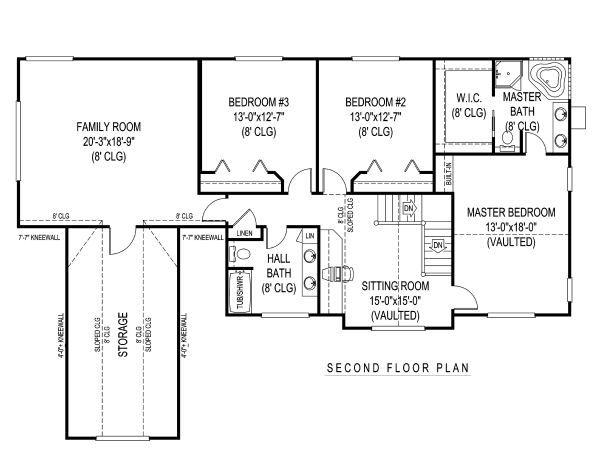 Farmhouse Floor Plan - Upper Floor Plan Plan #11-229
