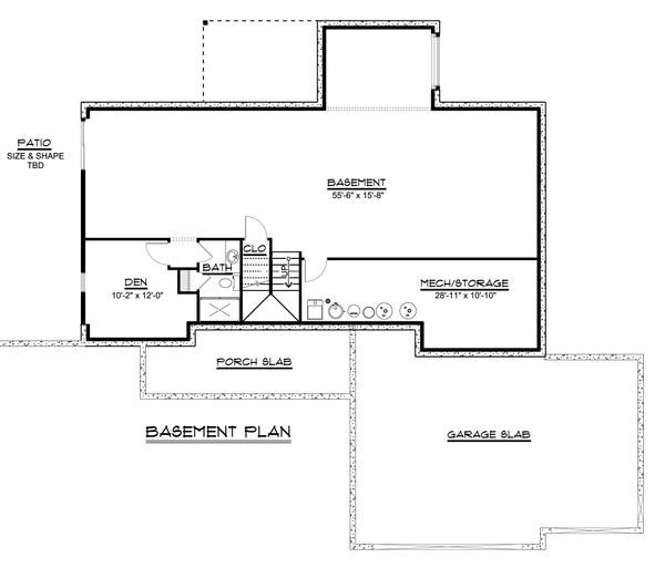 Craftsman Floor Plan - Lower Floor Plan Plan #1064-39