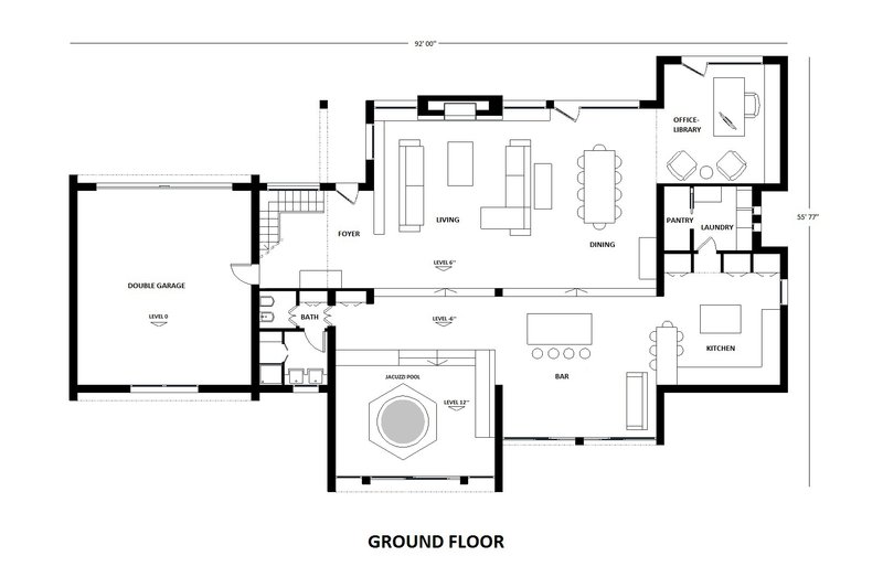 Modern Floor Plan - Main Floor Plan Plan #542-1