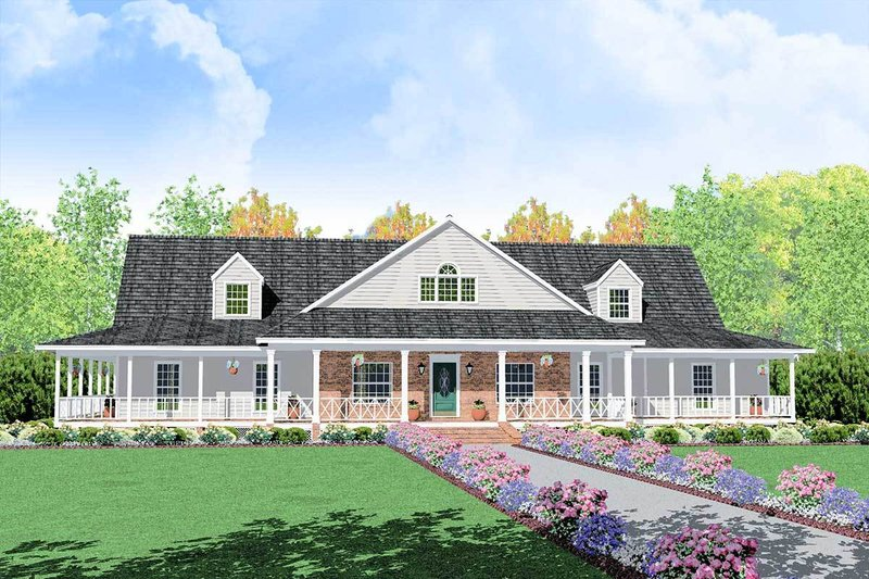 Traditional Style House Plan - 4 Beds 4 Baths 3388 Sq/Ft Plan #36-234 Exterior - Front Elevation