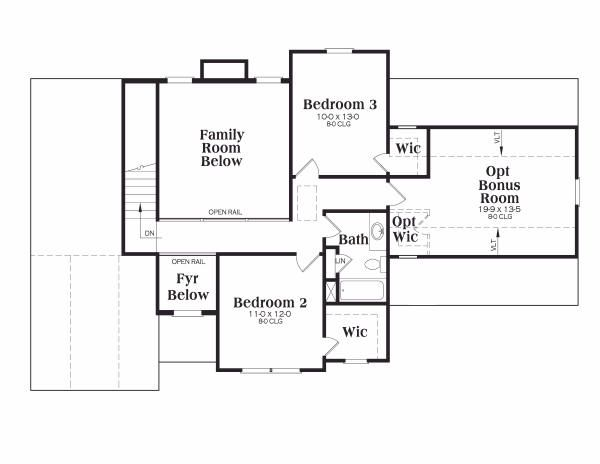 Traditional Floor Plan - Upper Floor Plan Plan #419-115