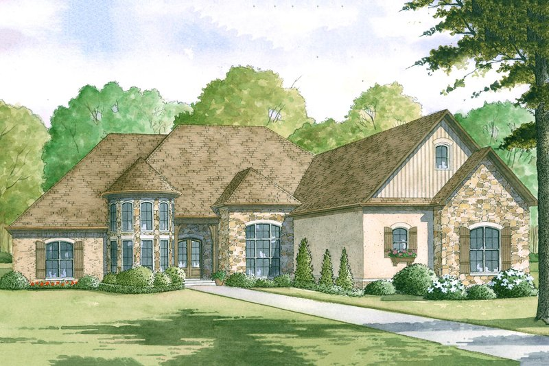 European Style House Plan - 4 Beds 3.5 Baths 3713 Sq/Ft Plan #923-2 Exterior - Front Elevation