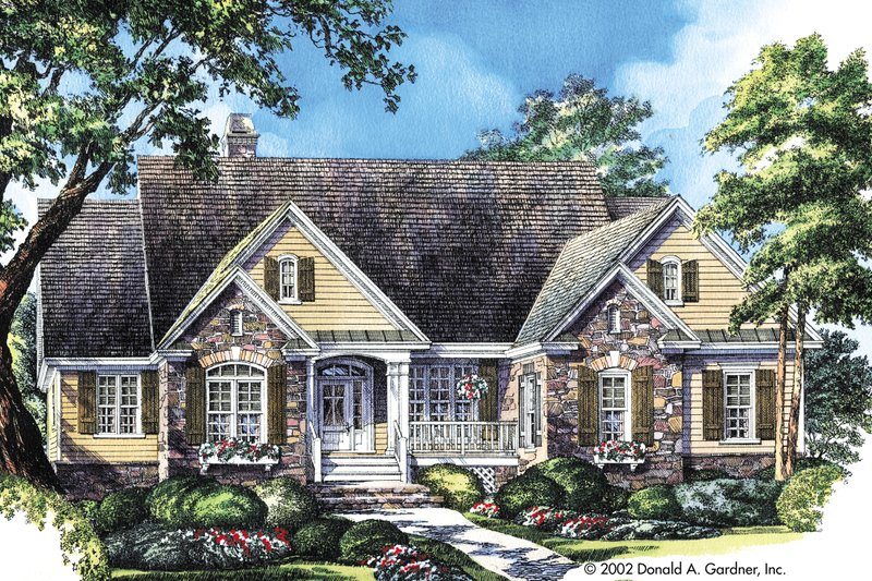 Country Exterior - Front Elevation Plan #929-9 - Houseplans.com