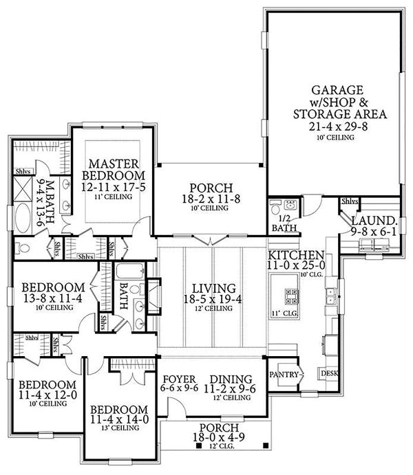 Dream House Plan - Country Floor Plan - Main Floor Plan #406-9658