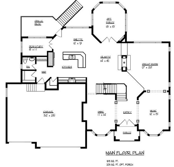European Floor Plan - Main Floor Plan #320-488