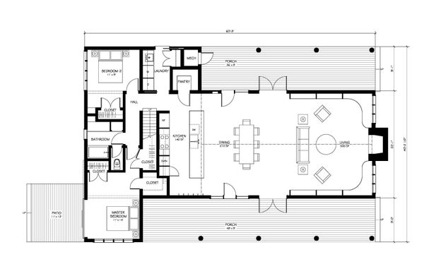 Farmhouse Floor Plan - Main Floor Plan Plan #889-2