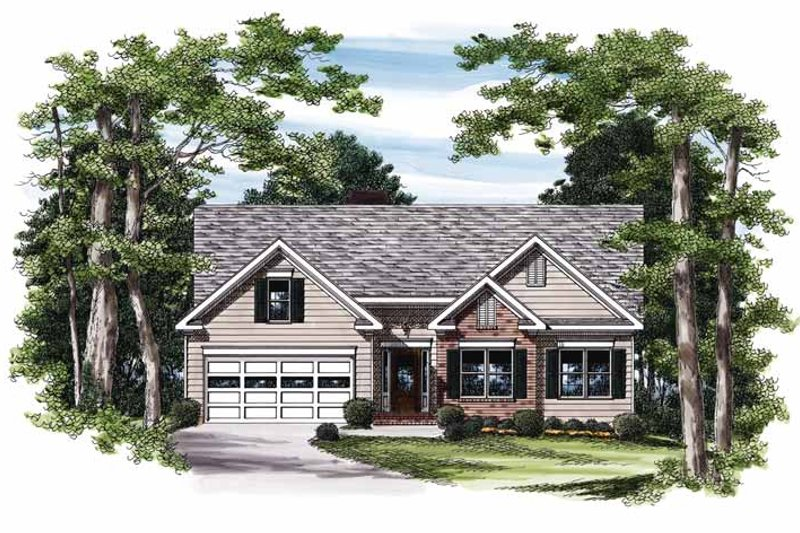 Ranch Exterior - Front Elevation Plan #927-811