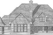 European Style House Plan - 4 Beds 3.5 Baths 3230 Sq/Ft Plan #70-496 Exterior - Rear Elevation