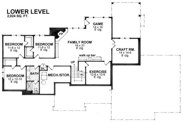 Craftsman Floor Plan - Lower Floor Plan #51-575