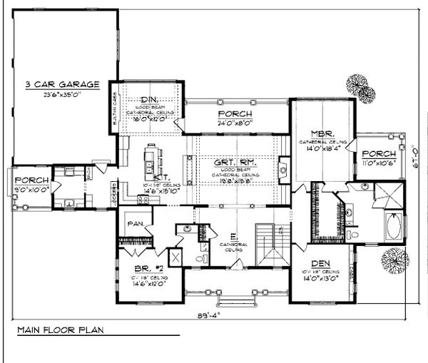 Main Level floor plan - 4500 square foot traditional home