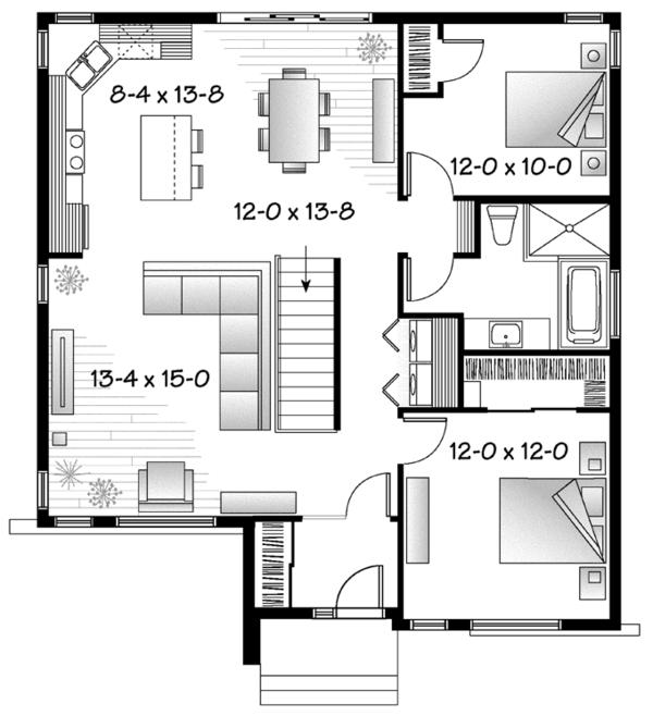 Contemporary Floor Plan - Main Floor Plan Plan #23-2572