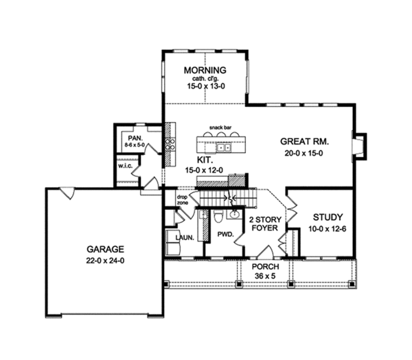 Colonial Floor Plan - Main Floor Plan Plan #1010-126