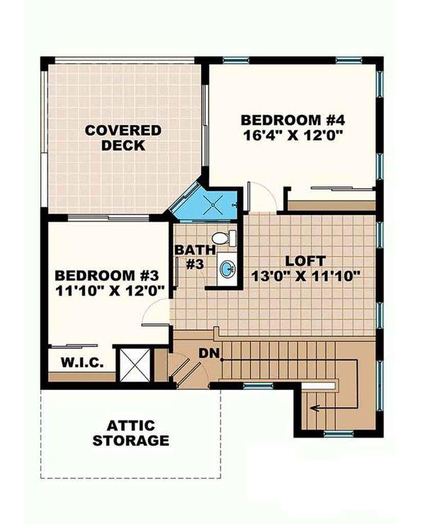 Mediterranean Floor Plan - Upper Floor Plan Plan #1017-162