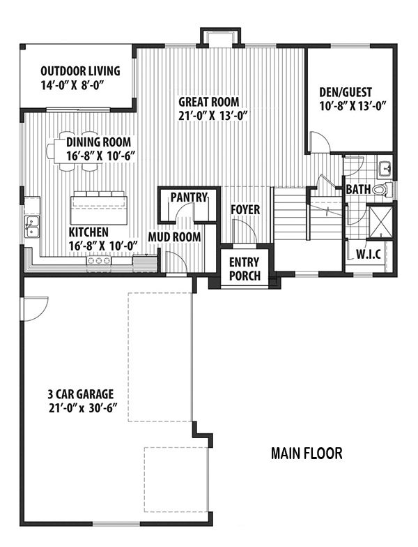 Contemporary Floor Plan - Main Floor Plan Plan #569-35